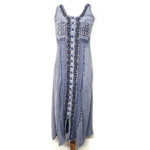 Vintage 90s Chambray Embroidered Boho Dress
